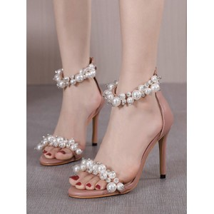 Heel Sandals Apricot Stiletto Heel Square Toe PU Leather Upper Sexy Ankle Strap Heels Fitted #113240942828