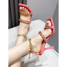 Heel Sandals Rose Red Stiletto Heel Square Toe PU Leather Ankle Strap Heels #113240950882