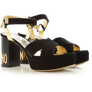 Moschino Women Sandals Black Leather, suede Fitted CRCTD5794