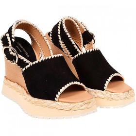 Paloma Barcelo Women Sandals Black Suede Leather Clearance Sale IMGHQ7425