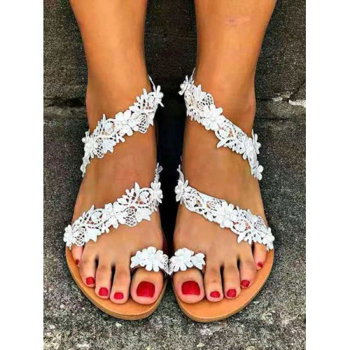 Wedding Flat Sandals White PU Leather Flowers Embellishment Open Toe Flat Bridal Shoes Collection #05790946070