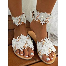Wedding Shoes White PU Leather Flowers Open Toe Flat Bridal Shoes In Sale #05790946082