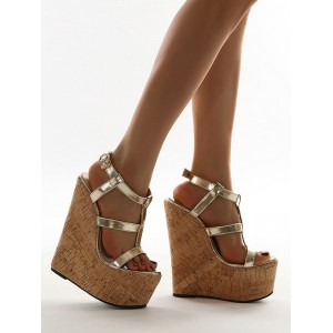 Wedge Sandals For Woman Blond Open Toe PU Leather Wedge Sandals on sale online #32680948214