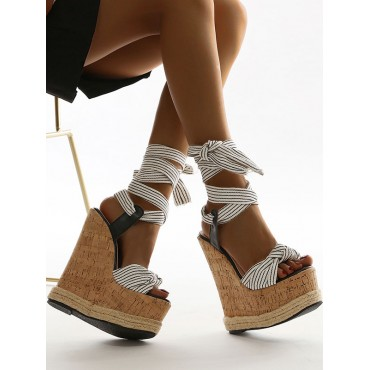 Wedge Sandals For Women Amazing Canvas Lace Up Open Toe White Wedge Sandals Designer #32680948218