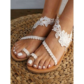 White Wedding Shoes PU Leather Open Toe Embroidered Flat Summer Lace Up Sandals The Top Selling #05790938794