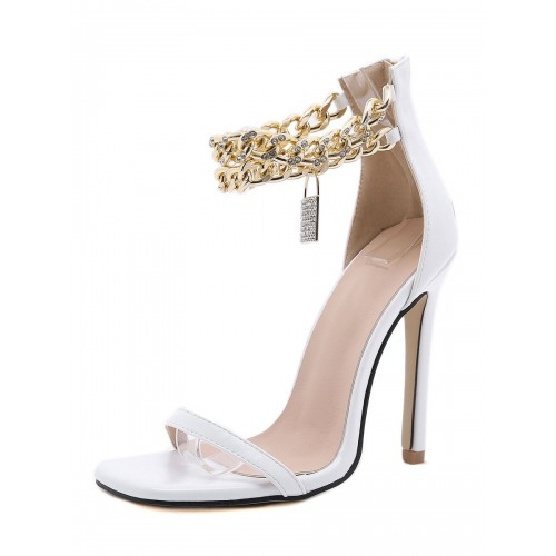 Women Heel Sandals White Stiletto Heel Square Toe PU Leather Sexy Ankle Strap Heels on clearance #113240940338