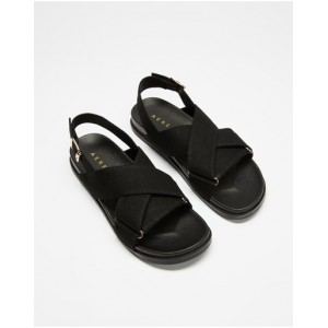 Women Linen Crossover Footbed Sandals AERE Black Linen The Top Selling PIWCOHD