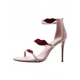 Womens Apricot Ankle Strap Sandals Lips Stiletto Heel Sexy Sandals Discount #113240936362