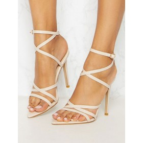 Womens Apricot Sexy Strappy Heels Pointed Toe Stiletto Heel Sandals Regular #113240936518