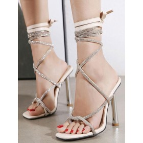 Womens Apricot Strappy Heels Stiletto Heel Lace Up Sandals #113240934566