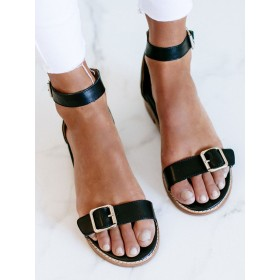Womens Black Ankle Strap Flat Sandals with Buckle shopping #32740938802