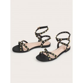 Womens Black PU Leather Flat Sandals with Rivets 2021 Trends #32740937464
