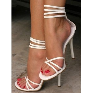 Womens White Ankle Strap High Heels Open Toe Stiletto Heel Sandals The Top Selling #06180731100