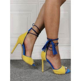 Womens Yellow Suede Lace Up Heels Stiletto Heel Sandals with Tassel On Sale #113240938240
