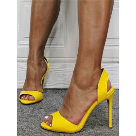 Yellow Slingback Heels Patent Leather Peep Toe Stiletto Heel Sandals For Women Fitted #113340938420