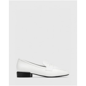 Women's August Leather Square Toe Loafers Wittner White on clearance IEYPQCO