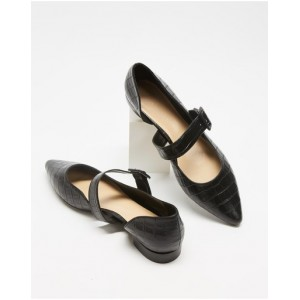 Women's Cassis Leather Flats Atmos&Here Black Croc-Embossed Leather New Style NSVFFEU