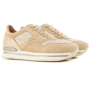Hogan Women Sneakers Beige Leather, Fabric The Top Selling EIOTH1993