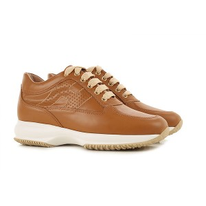 Hogan Women Sneakers Light Brown Leather Trends WPONI4250
