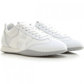Hogan Women Sneakers White Leather, Patent Cut Off JUVRY6016