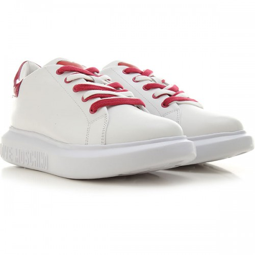 Moschino Women Sneakers White Leather, Patent Deals PZSJJ8718