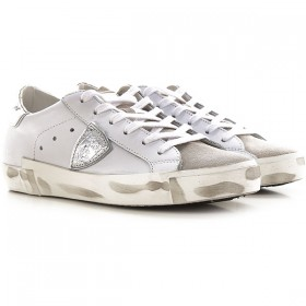 Philippe Model Women Sneakers White Leather, Suede Leather POBTX7759