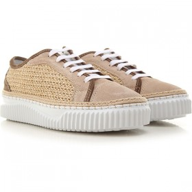 Voile Blanche Women Sneakers Beige Suede Leather, rafia DHUPE5404