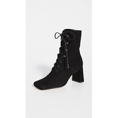 BY FAR Women's Claude Lace Up Suede Booties Black Latest Fashion LNTG605