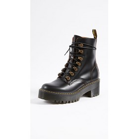 Dr. Martens Young Ladies Leona 7 Hook Boots Black Fitted OSNV722
