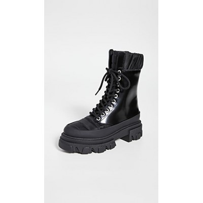 GANNI Women's Track Sole Combat Boots Black in style PVYG372