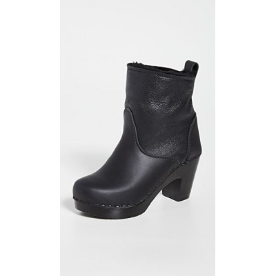No.6 Girl's Pull On Shearling High Heel Boots Double Black Aviator New Arrival MFDA383