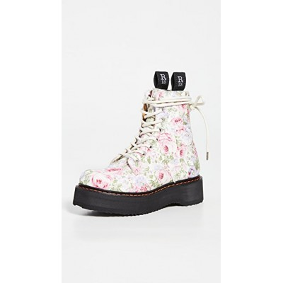 R13 Womens Single Stack Lace-up Boots White Floral in new look JHOF364