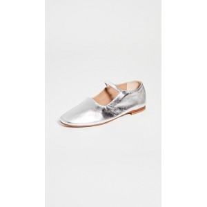 Mansur Gavriel Young Ladies Glove Mary Jane Flats Silver/Silver QNEI571
