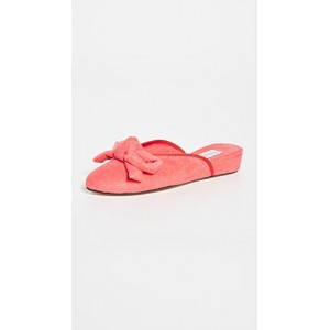 Olivia Morris At Home Young Women's Daphne Bow House Slippers Coral Red on style JSOM873